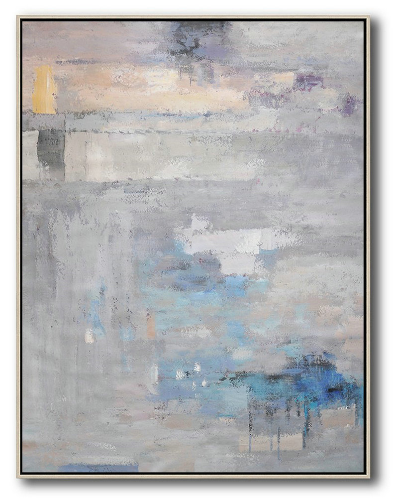 Hand Painted Extra Large Abstract Painting,Vertical Palette Knife Contemporary Art,Acrylic Painting On Canvas,Grey,Blue,Violet Ash.Etc
