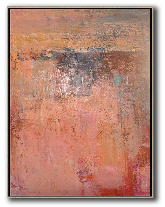 Oversized Canvas Art On Canvas,Vertical Palette Knife Contemporary Art,Large Wall Art Home Decor,Pink,Brown,Red.Etc