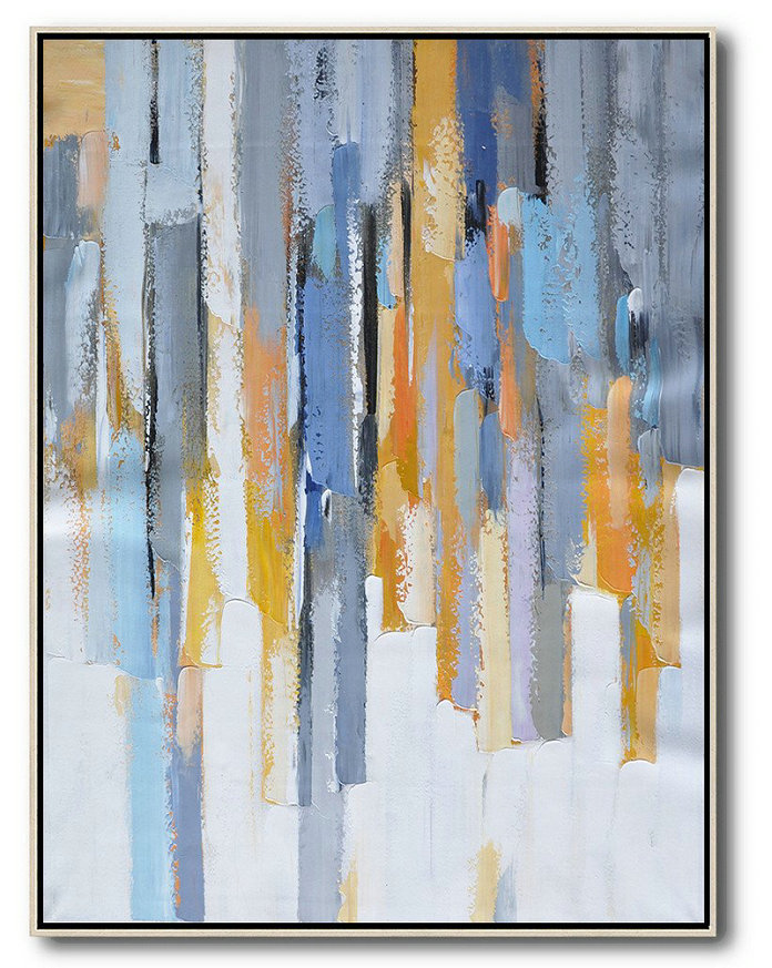 Large Abstract Art Handmade Oil Painting,Vertical Palette Knife Contemporary Art,Art Work,Purple,Yellow,White,Grey.Etc