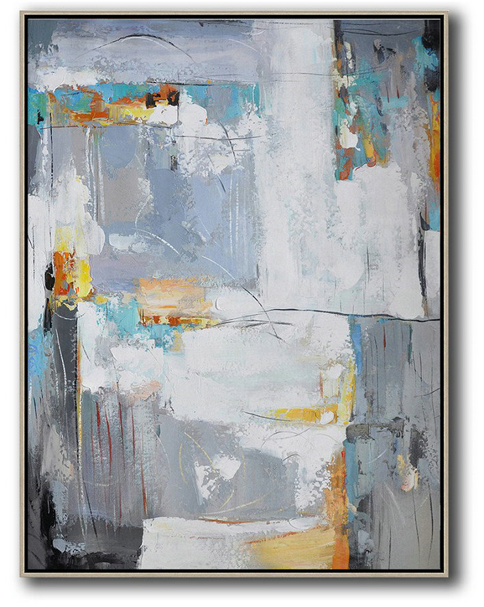Original Extra Large Wall Art,Vertical Palette Knife Contemporary Art,Canvas Artwork For Sale,White,Grey,Yellow.Etc