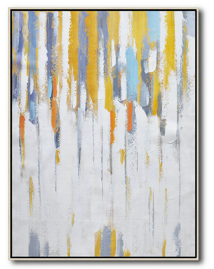 Handmade Painting Large Abstract Art,Vertical Palette Knife Contemporary Art,Acrylic Painting On Canvas,White,Yellow,Violet Ash,Grey.Etc