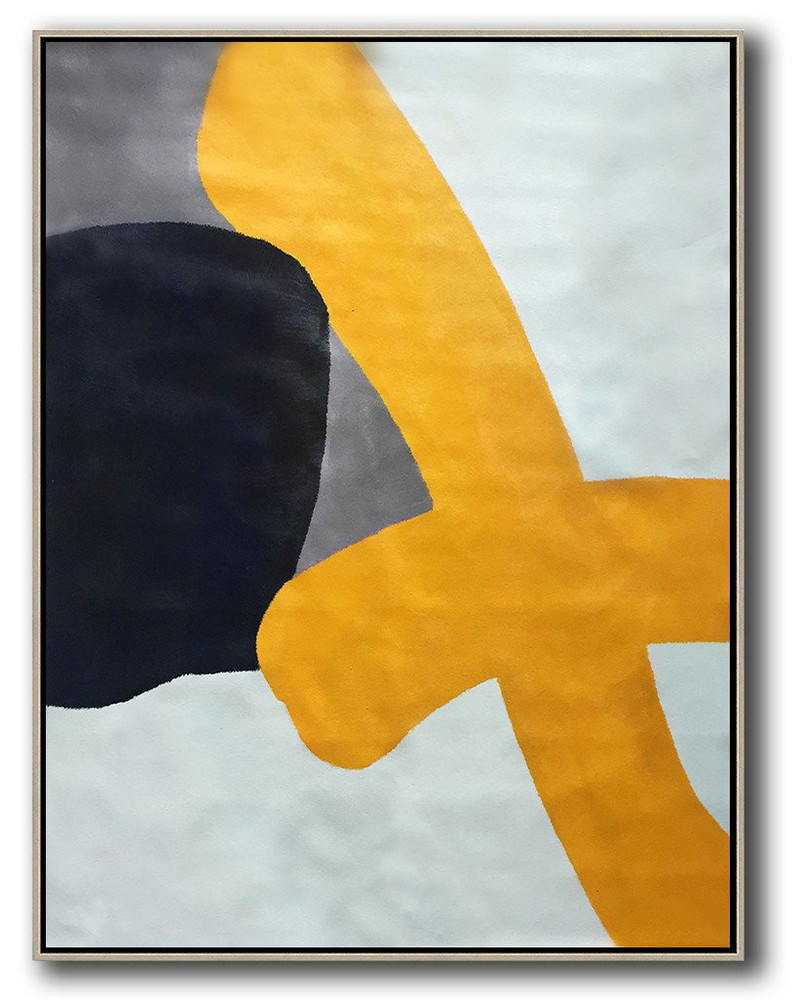 Extra Large Abstract Painting On Canvas,Vertical Contemporary Art,Extra Large Canvas Painting,Yellow,White,Black,Navy Blue.Etc