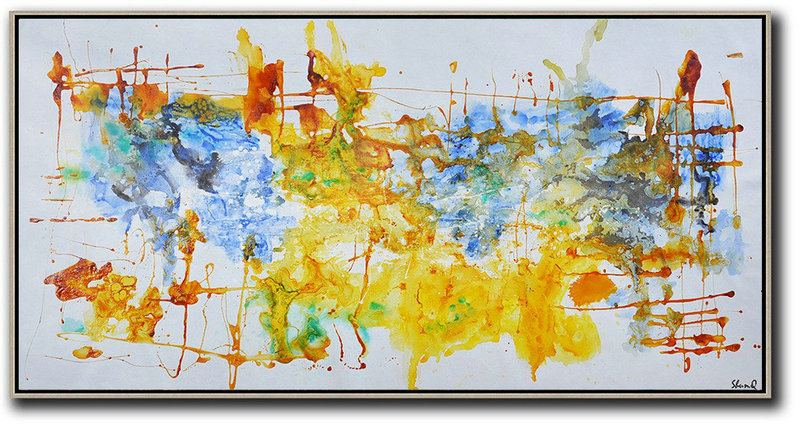 Huge Wall Decor,Contemporary Oil Painting,Canvas Wall Paintings,Grey ,Blue,Yellow.Etc