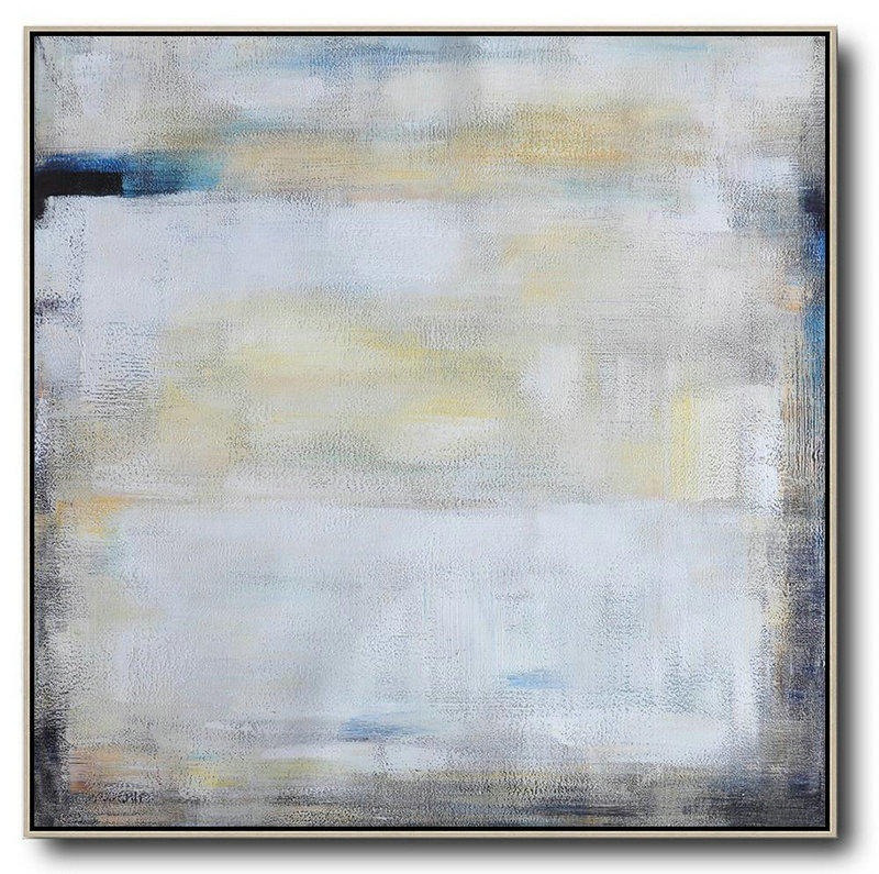 Large Contemporary Art Acrylic Painting,Oversized Contemporary Painting,Original Abstract Art Paintings,White,Yellow,Blue,Black.Etc