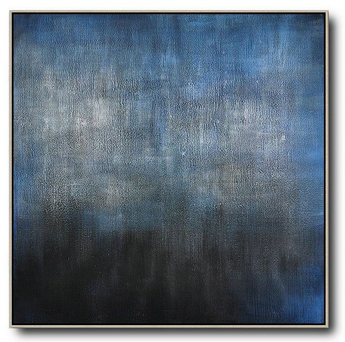Hand Painted Extra Large Abstract Painting,Oversized Contemporary Painting,Multicolor Abstract Painting,Black,Blue,Gray.Etc