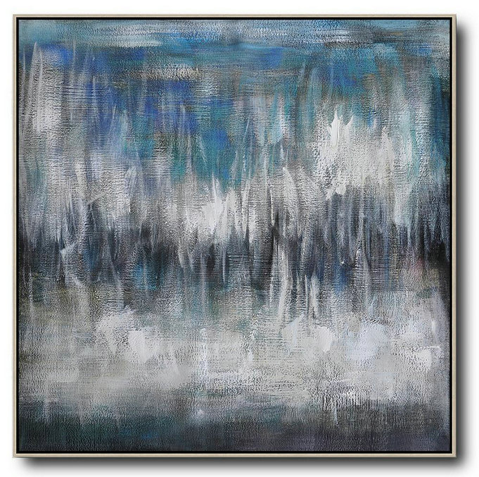 Large Abstract Art,Oversized Contemporary Painting,Modern Painting Abstract,Black White,Blye,Grey.Etc