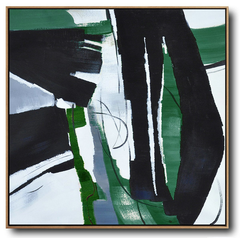 Extra Large Abstract Painting On Canvas,Oversized Dark Green Contemporary Painting On Canvas,Contemporary Canvas Paintings,Dark Green,Balck,White.Etc