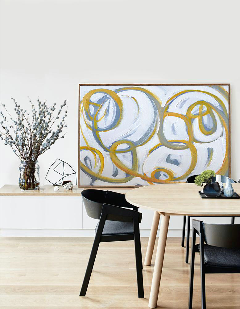 Acrylic Painting Large Wall Art,Horizontal Palette Knife Contemporary Art,Large Wall Art Home Decor,White,Yellow,Grey.Etc