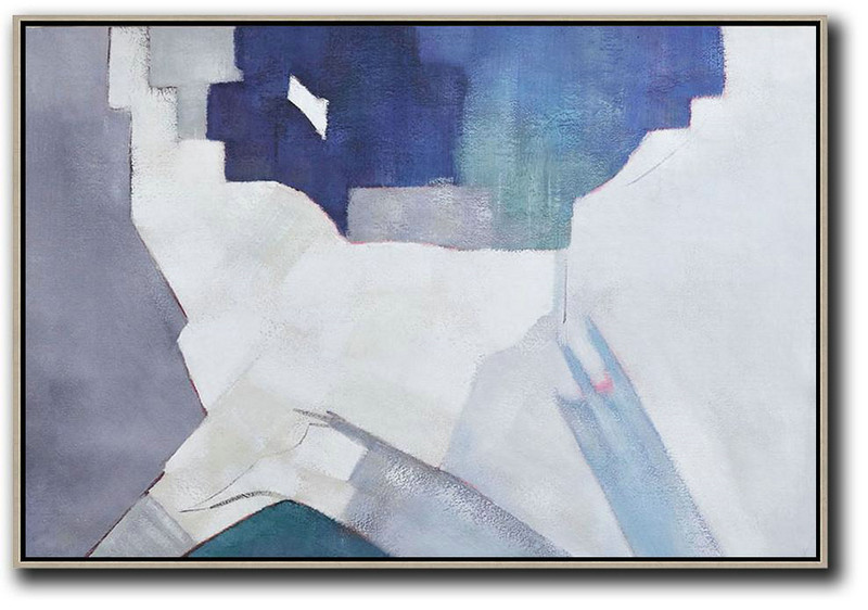 Acrylic Painting Large Wall Art,Oversized Horizontal Contemporary Art,Hand-Painted Canvas Art,White,Grey,Blue.Etc