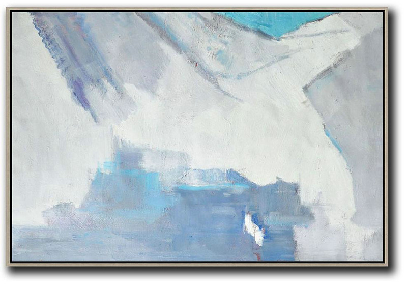 Large Abstract Wall Art,Oversized Horizontal Contemporary Art,Contemporary Art Canvas Painting,White,Grey,Blue.Etc
