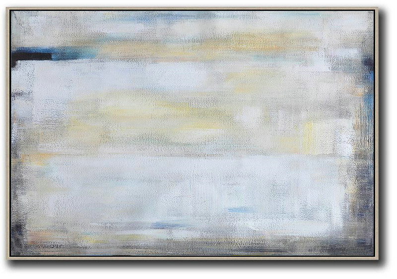 Textured Painting Canvas Art,Oversized Horizontal Contemporary Art,Huge Abstract Canvas Art,White,Grey,Yellow.Etc