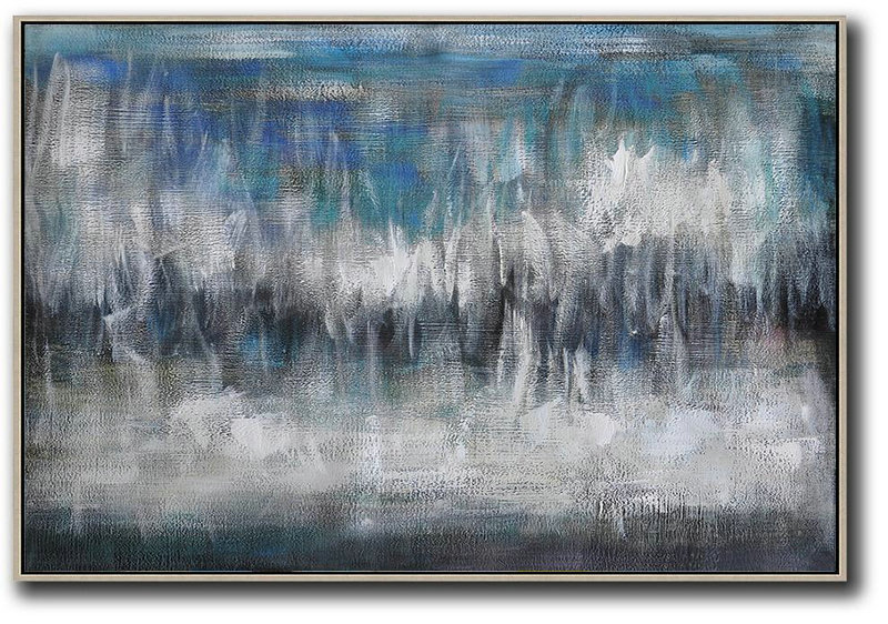 Abstract Painting Modern Art,Oversized Horizontal Contemporary Art,Modern Abstract Wall Art,Blue,Grey,Black,White.Etc