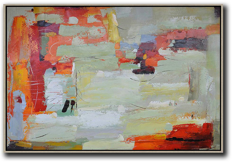 Extra Large Textured Painting On Canvas,Oversized Horizontal Contemporary Art,Modern Art,Red,Light Green,Yellow,Grey.Etc