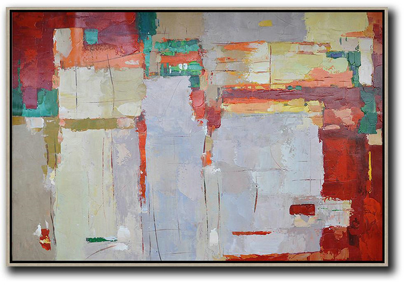 Hand-Painted Contemporary Art,Oversized Horizontal Contemporary Art,Original Abstract Oil Paintings,Grey,Red,Yellow.Etc