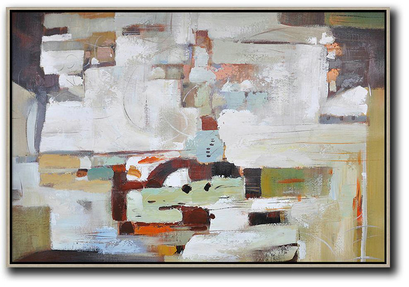 Abstract Painting Extra Large Canvas Art,Oversized Horizontal Contemporary Art,Acrylic Painting On Canvas,White,Grey,Dark Red.Etc