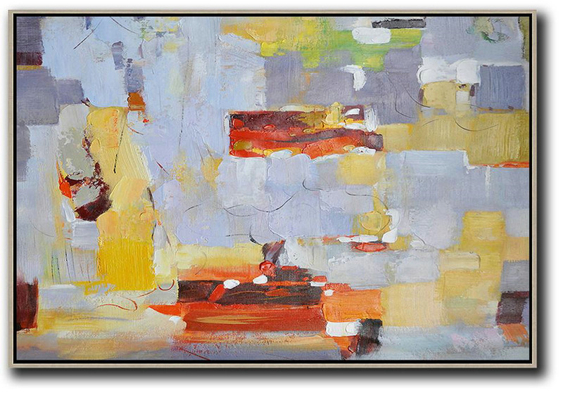 Modern Art Abstract Painting,Oversized Horizontal Contemporary Art,Contemporary Art Wall Decor,Grey,Red,Yellow.Etc