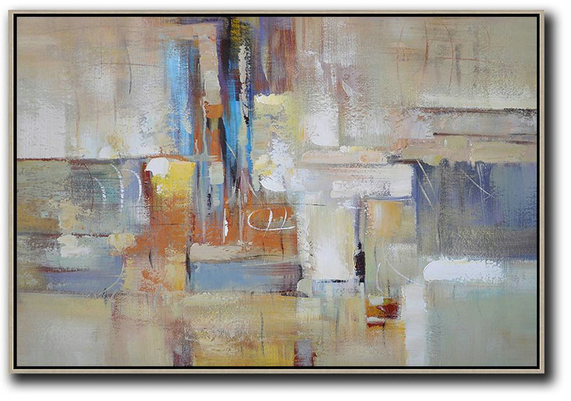 Large Contemporary Art Canvas Painting,Oversized Horizontal Contemporary Art,Big Painting,Grey,White,Earthy Yellow.Etc