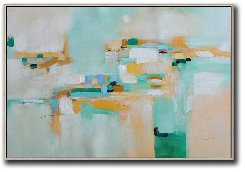 Large Wall Canvas,Oversized Horizontal Contemporary Art,Large Canvas Art,Modern Art Abstract Painting,White,Yellow,Green.Etc