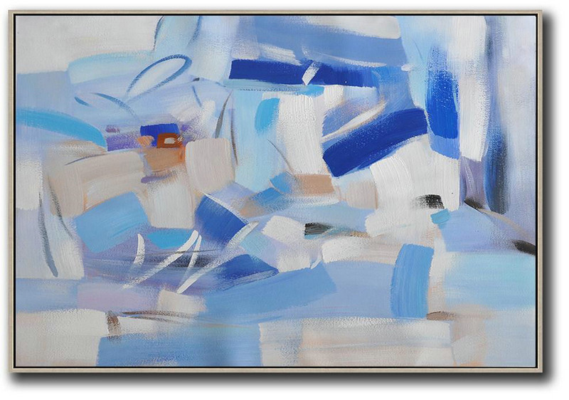 Huge Canvas Art On Canvas,Oversized Horizontal Contemporary Art,Original Art Acrylic Painting,Grey,White,Blue.Etc