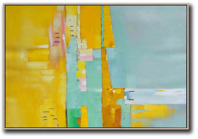 Extra Large Paintings,Oversized Horizontal Contemporary Art,Huge Abstract Canvas Art,Yellow,White,Light Green,Pink.Etc