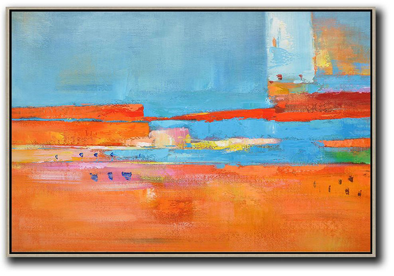 Extra Large Canvas Art,Oversized Horizontal Contemporary Art,Large Abstract Wall Art,Blue,Red,Orange.Etc