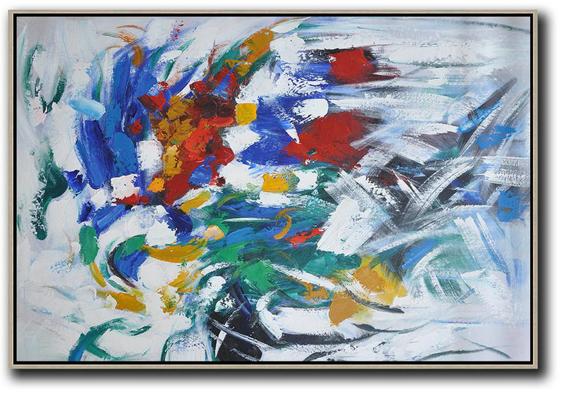 Abstract Art Decor Large Canvas Painting,Oversized Horizontal Contemporary Art,Extra Large Canvas Art,Handmade Acrylic Painting,Red,Yellow,White,Green,Blue.Etc
