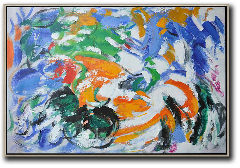 Extra Large Abstract Painting On Canvas,Oversized Horizontal Contemporary Art,Modern Canvas Art,Blue,White,Green,Orange.Etc