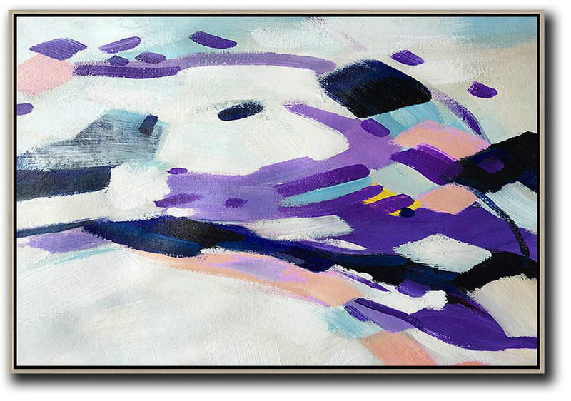 Extra Large Canvas Art,Handmade Acrylic Painting,Oversized Horizontal Contemporary Art,Abstract Painting For Home,White,Purple,Pink.Etc