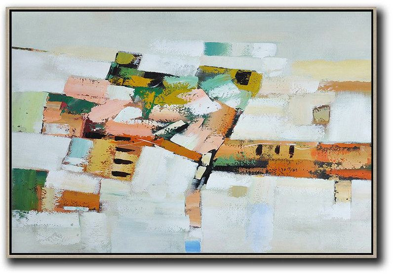 Hand Painted Acrylic Painting,Oversized Horizontal Contemporary Art,Giant Canvas Wall Art,Grey,White,Pink,Orange,Yellow.Etc