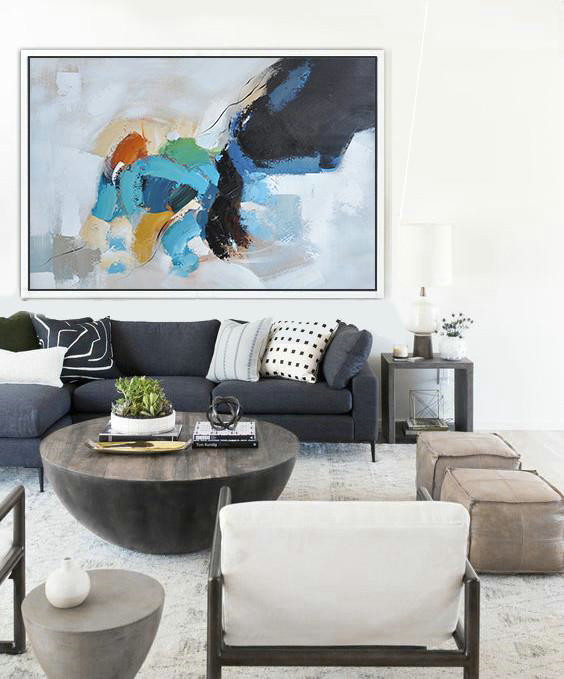 Abstract Oil Painting,Oversized Horizontal Contemporary Art,Handmade Acrylic Painting,White,Black,Grey,Blue,Yellow.Etc