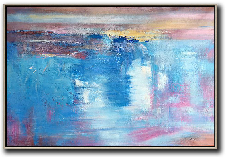 Original Abstract Painting Canvas Art,Oversized Horizontal Contemporary Art,Hand Paint Abstract Painting,Blue,Pink,Yellow,White.Etc
