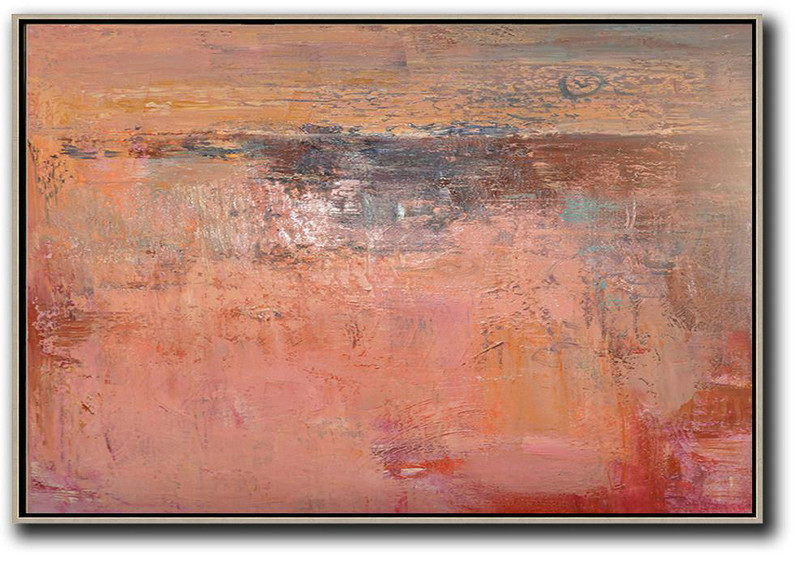 Acrylic Painting On Canvas,Oversized Horizontal Contemporary Art,Hand Made Original Art,Pink,Nude,Brown,Red.Etc
