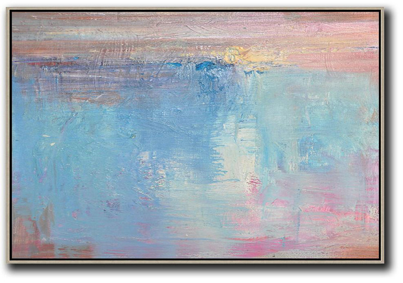 Art Work,Oversized Horizontal Contemporary Art,Original Art,Sky Blue,Pink,White.Etc