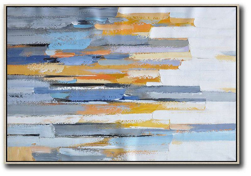 Large Wall Art Canvas,Oversized Horizontal Contemporary Art,Large Oil Canvas Art,White,Grey,Blue,Yellow.Etc