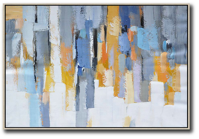 Large Contemporary Painting,Oversized Horizontal Contemporary Art,Large Canvas Wall Art For Sale,White,Grey,Blue,Yellow.Etc