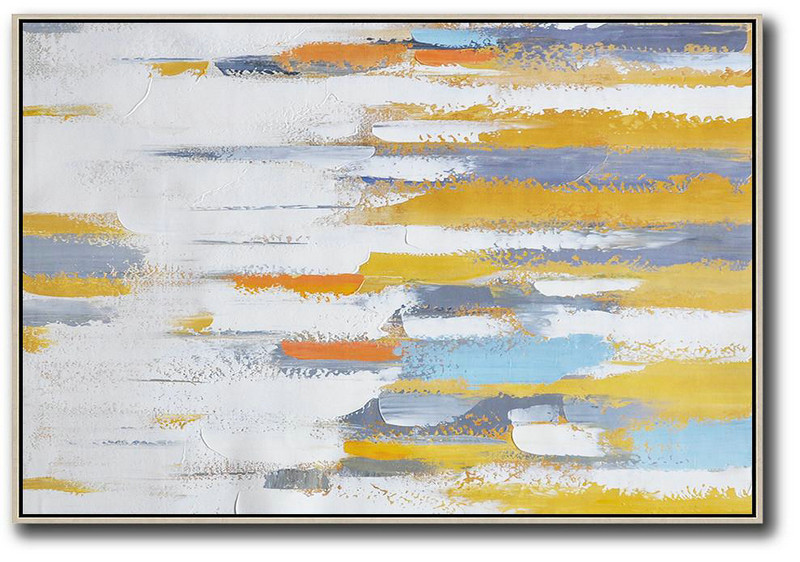 Acrylic Painting On Canvas,Oversized Horizontal Contemporary Art,Modern Paintings On Canvas,White ,Grey,Yellow,Orange.Etc