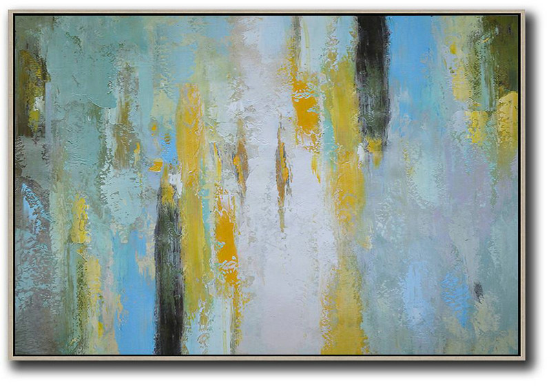 Abstract Painting On Canvas,Oversized Horizontal Contemporary Art,Living Room Wall Art,White,Yellow,Purple Grey,Black,Lake Blue.Etc