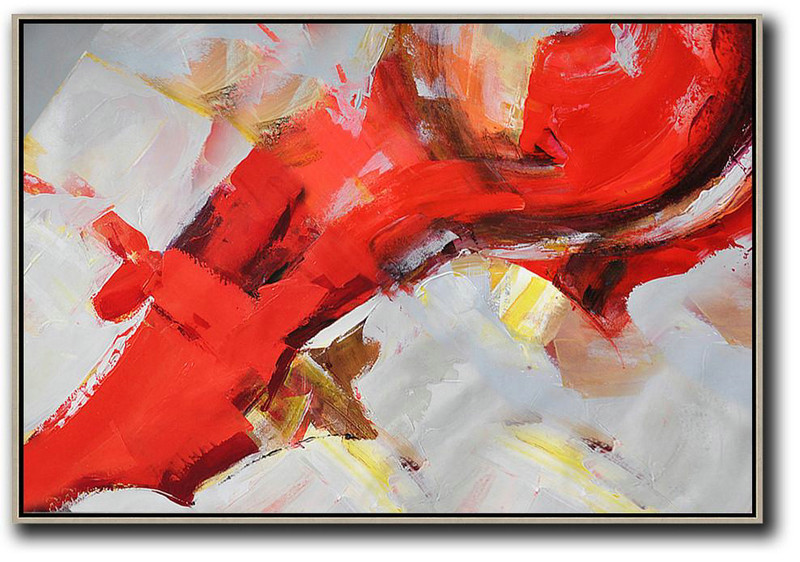 Wall Art Ideas For Living Room,Horizontal Palette Knife Contemporary Art,Art Work,Red,Grey,Yellow.Etc