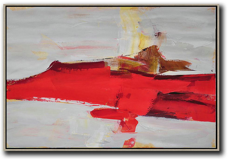 Acrylic On Canvas Abstract,Horizontal Palette Knife Contemporary Art,Giant Wall Decor,Red,Grey,Yellow.Etc