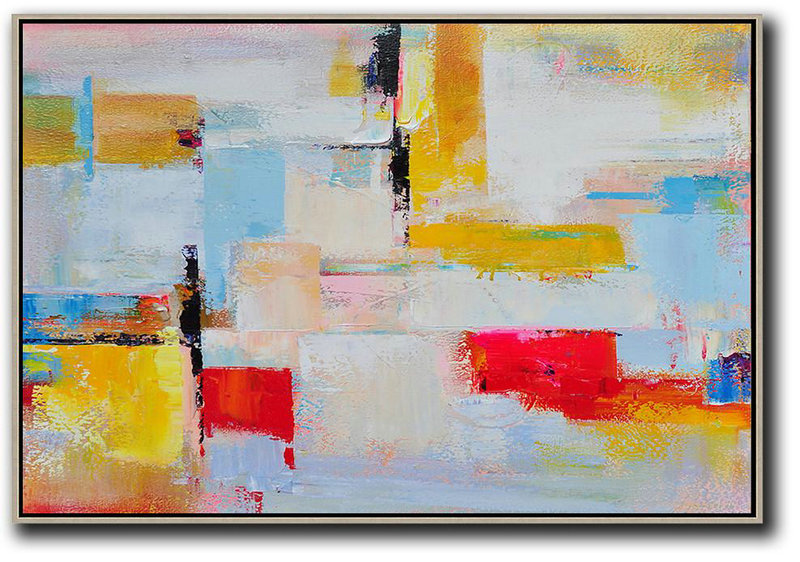 Contemporary Canvas Paintings,Horizontal Palette Knife Contemporary Art,Pretty Abstract Paintings,Yellow,White,Red.Etc