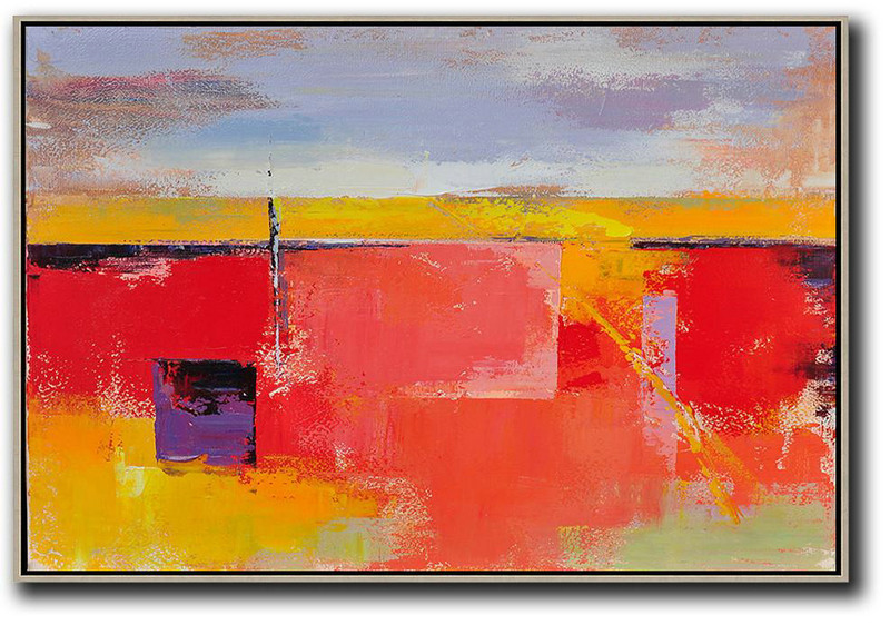Original Art,Horizontal Palette Knife Contemporary Art,Abstract Painting On Canvas,Purple Grey,Yellow,Red.Etc