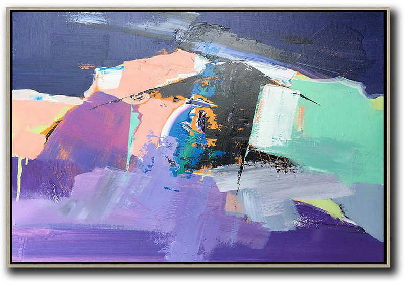 Abstract Artwork Online,Horizontal Palette Knife Contemporary Art,Hand Painted Canvas Art,Pink,Purple,Black.Etc