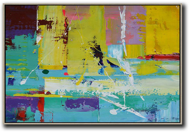 Original Abstract Art Paintings,Horizontal Palette Knife Contemporary Art,Big Wall Art For Living Room,Yellow,Blue,Purple,Pink.Etc
