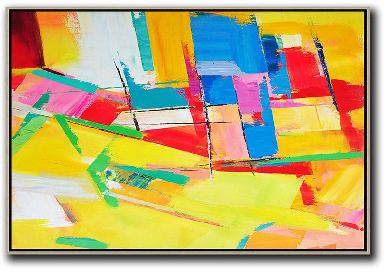 Huge Abstract Canvas Art,Horizontal Palette Knife Contemporary Art,Modern Painting Abstract,Yellow,Red,Blue.Etc