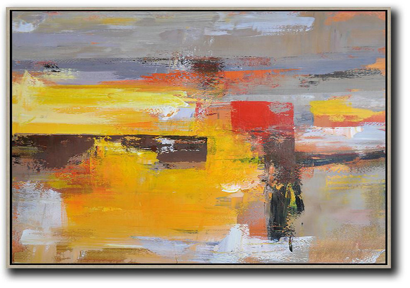 Modern Canvas Art,Horizontal Palette Knife Contemporary Art,Modern Wall Art,Grey,Yellow,Red.Etc