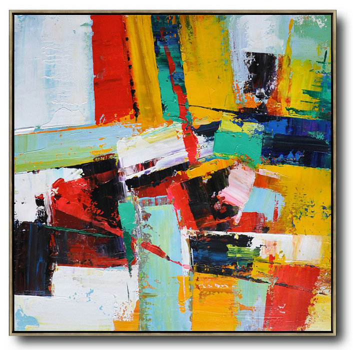 Hand Made Abstract Art,Oversized Palette Knife Painting Contemporary Art On Canvas,Abstract Painting On Canvas,Yellow,Red,Light Green.Etc