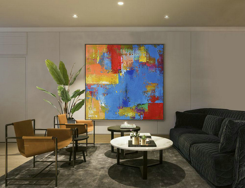 "Extra Large 72"" Acrylic Painting,Oversized Palette Knife Painting Contemporary Art,Acrylic Painting Large Wall Art,Blue,Yellow,Red,Purple.Etc"