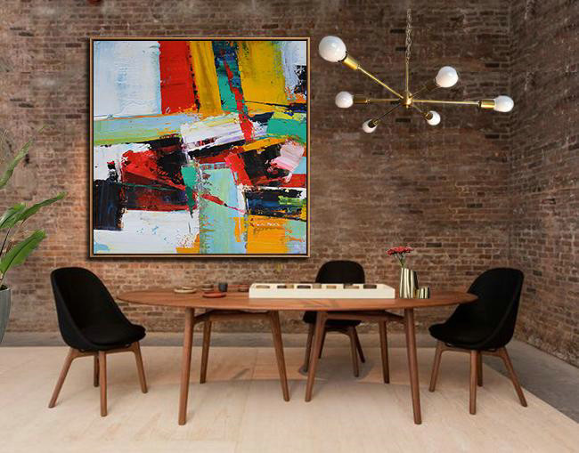 Large Abstract Art Handmade Painting,Oversized Palette Knife Painting Contemporary Art On Canvas,Big Art Canvas,Grass Green,Red,Yellow,Black.Etc