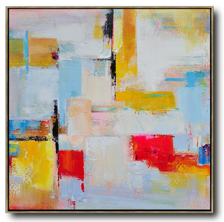Large Modern Abstract Painting,Oversized Palette Knife Painting Contemporary Art On Canvas,Canvas Wall Art,Grey,Yellow,Red,Sky Blue.Etc