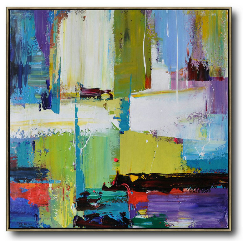 "Extra Large 72"" Acrylic Painting,Oversized Palette Knife Painting Contemporary Art On Canvas,Abstract Artwork Online,Green,Yellow,White,Purple,Blue,Red.Etc"